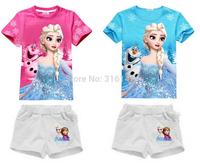 1set new Snow Romance 100%cotton girl cute short sleeve top+shorts suit girl short set  free shipping T-set
