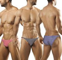 Sexy mens cotton striped briefs men's blue/red/black stripes underwear brief man low rise Y-fronts gay underpants