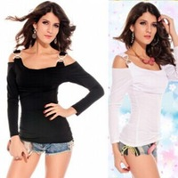 Summer Women And Girls T-Shirts Rhinestone Double C Buckles Long Sleeves T Shirt Shoulder Cut Out Woman Clothing Womens Top