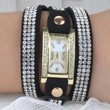 Women Watch Inlaid Rhinestones Bracelet Watch Timepiece with PU Leather Band for Women Whach BMHM560 C9