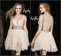 2015 New Sexy Top Quality Sweetheart Lace Beading A line Mini Custom Make Design Short Party Dress online party over