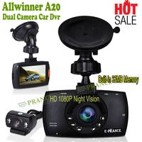 G60 Dash Cam Dual Lens Car DVR Dual Camera HD 1080P Night Vision Allwinner A20 170 Degree Built-in 32MB Memory Black Box DW