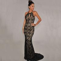 Long Lace Black Mermaid Dresses 2015 Women Nude Illusion Evening Dress Gown Elegant Open Back Formal Floor Length Vestidos