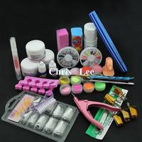 pro Nail Art Set Acrylic Liquid Glitter PowderTips Tools DIY Kit set