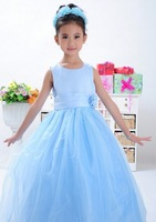 Hot sell 1pcs new style baby girl party long blue dress girl dance party dress,kids evening dress free shipping YM-206