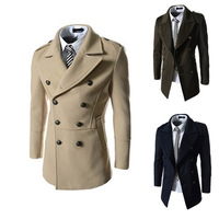 Double breasted men's  trench wool blends coats autumn or winter Trenchs or blends man wind proof coats free shipping H756