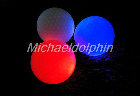 Free shipping 6pcs Mixed Color Luminous Flashing Electronic Golf Balls Night Golf balls night Golfing LED ball(China (Mainland))