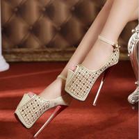 2014 women ultra high heels 19 cm new fashion wedding party shoes red bottom High quality women's Rhinestone toe high heels