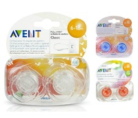 2 Original Avent Pacifier BPA-Free Avent Translucent Soother Avent Orthodontic Dummy Nipple - 6-18 Month