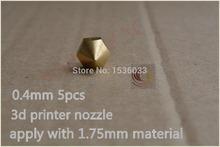 5pcs 0.4mm 3d printer nozzle extruder print head for 1.75mm consumables diy