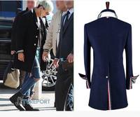 THOM BROW slits  casual fashion Classic men's badges woolen coat long double-breasted coat male overcoat men windbreaker