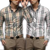 Brand New Fashion Design Mens Casual Shirt Long Sleeve Cotton High Quality Plaid Dress Shirt camisas  Shirts For Men  QY5014