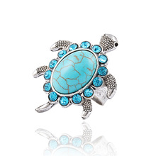 New hot Tibetan silver Blue turquoise gem rhinestone Crystal Tortoise Ring jewelry for women Christmas gifts 2014 Wholesale M12