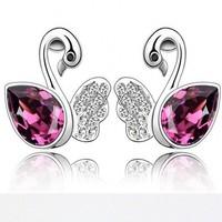 Dream swan lake 925 sterling silver earrings,free shipping.