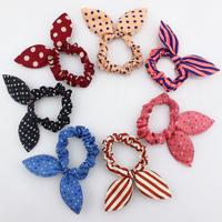 10pcs  Korean hair cloth headdress rabbit ears scrunch string bow holder elastic hair rope,Mixed colors