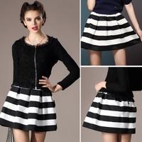 Ladies Retro Vintage Skirts New 2014 Autumn Winter Sexy Womens Stitching Striped Female Mini Short Bubble Skirt Saias Femininas