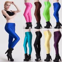 Trade fashion movement fluorescent high waist side zip leggings wholesale candy color women's slim leg trousers