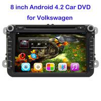 2 Din 8 inch Pure Android 4.2 VW Car DVD GPS Golf 4 Golf 5 Golf 6 POLO SKODA PASSAT CC JETTA TIGUAN TOURAN CADDY Freeshipping