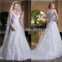 2014 Sexy Custom Made vestido de noiva A-Line See Through Back Long Sleeve Wedding Dresses vestidos de noivas