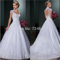 Vestido De Noiva Ball Gown Wedding Dresses Open Back Sexy Vestido De Casamento Detachable Train Bridal Gown 2015 Robe De Mariage
