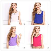 18 colors 2014 European ladies ' sleeveless chiffon tank top Candy-colored  Shirt Blouse Blusas Femininas for women CT001