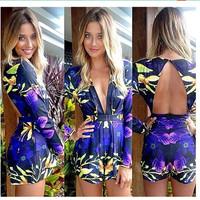 Blusas Femininas New Women Sexy Backless Deep V-neck Rompers Floral Printed Jumpsuit Short Pants Nightclubs Bodysuit ej658487