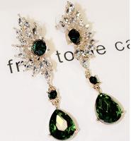 Luxe Emerald Rhinestne Dangle Earrings Sparkling Rhinestone Party Drop Earrings New Fashion Statement Jewelry for Women BJE86457