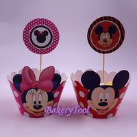 Cute Mickey Mouse & Minnie Mouse acessorios de cakes paper mold Cupcake Wrappers & Toppers free ship 24pcs wraps + 24pcs Toppers