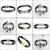 Trendy 316L Titanium Steel Bangles Bracelets For Men/Women Multi Styles Silicone Stainless Titanium Steel Bangle Cuff Bracelet