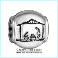 2014 New 925 Sterling Silver Christmas Stille Nacht Charms Xmas Gift Charms For Famous Brand DIY Snake Bracelets Design Er436