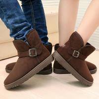 2014 Winter Men Women Snow Boots Fashion Non-Slip Warm Shoes Couple Buckle Short Boots Size 36-44 Platform Shoes