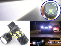 Free Shipping 2x White 10W W21W 7440 12 SMD 5050 Chip + Cree R5 LED Lens Backup Light Brake Tail Reverse