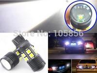 Free Shipping 2x White 10W W21W 7440 12 SMD 5050 Chip + Cree R5 LED Lens Backup Light Brake Tail Reverse