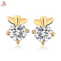 THe Latest Fashion Women Cute Rabbit 's Ears Stud Earring  Plating 18 K Gold Shining Crystal  Free Shipping
