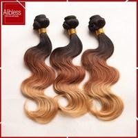 Ombre Brazilian hair human hair extensions ombre three tone color #1b#33#27 3pcs lot ombre Brazilian body wave 6A virgin hair