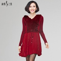 Autumn/Winter 2014 Women New Slim Plus Size Dress Long Sleeve V-neck Solid Brief Dress Sashes Rabbit Hair Drapped Frozen Dresses