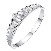 30 % 925 Pure Bling Silver Queen Princess Crown Bracelet Open Cuff Bangle Women Jewellery Accessories Bridal Wedding Party