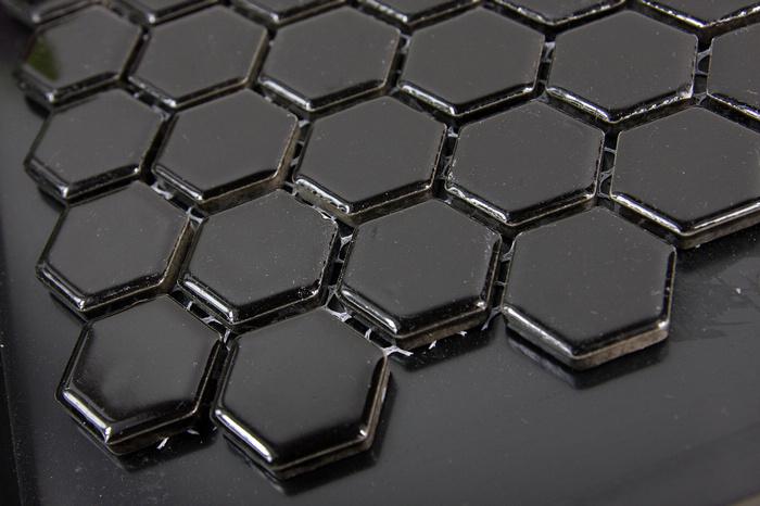 Free shipping Sicis Black Ceramic porcelain hexagon shinny mosaic tile, for pool bathroom,wall floor mosaic tile border(China (Mainland))