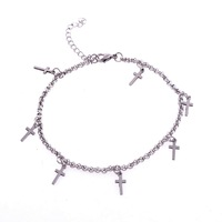 316L stainless steel pearl chain anklets with cross  accessories fashion jewelry women's anklets