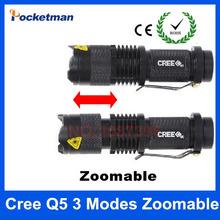 di alta qualità mini nero cree 2000lm impermeabilizza la torcia elettrica 3 modalità zoomable led torcia penlight trasporto libero(China (Mainland))