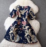 European Top Quality High Street Fashion Designer Dress Women's Elegant Short Sleeve Vintage Big Flower Printed Embossed Dress
