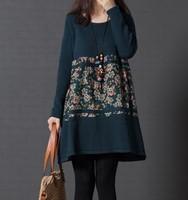 Fall 2014 new plus size ladies Korean Turtleneck knit loose printed long sleeve dress