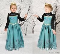 One pcs!children elsa&anna Frozen dress,baby girls party dress, Anna elsa princess dress,children cartoon clothes