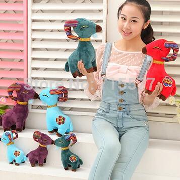1 piece 20 cm 2015 New Year sheep toy Gift sheep goat Christmas Gift Zodiac mascot dolls plush toy doll birthday gift wholesale(China (Mainland))