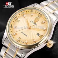 New 2014 Waterproof Full Steel Automatic Watch Gold Date Clock Self-Wind Mechanical Watch Men Luxury Brand TEVISE Men Wristwatch