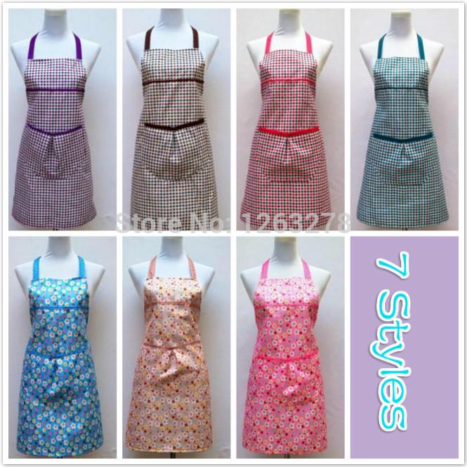 Many styles NEW Women LADIES Pretty Cooking APRON Purple Plaid Vintage Party COOKING Kitchen apron DRESS Bib Apron(China (Mainland))