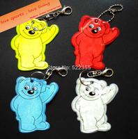 Wholesale 50pcs/lot, Bear Reflective Pendant,Reflective key chain,soft reflector,4 colors available, free shipping