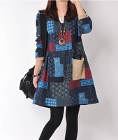 2014 Women New Arrival Plaid and Floral Print Long Sleeve V-Neck Autumn and Winter Casual Dress Brand Ladies vestido Plus Size