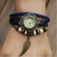 Free shipping!100% GENUINE Leather Hand Knit Women Vintage Dress Watches,Casual Quartz Watch,Bracelet Wristwatches Leaf Pendant