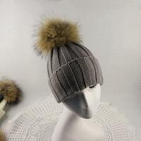 100% Real Fur Wool Beanies Winter Raccoon Fox Hairball Hats Knitting Skullies White Black Women Fur Caps Warm Casual For Men